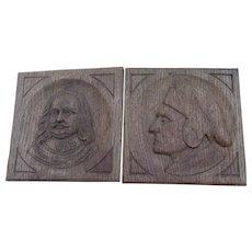 Pair c1900 English Hand Carved Oak Panels, Dante & Shakespeare