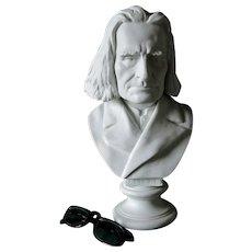Antique Bisque Bust of Hungarian Composer Franz Liszt