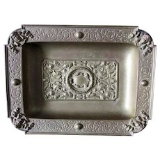 Antique Bronze Tray with Ladies Faces, Desk or Vanity Accessory