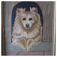 Charming Antique Folk Art Oil Painting of a Dog
