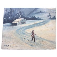 Circa 1891 Miniature Folk Art Oil Painting of a Cottage and Man