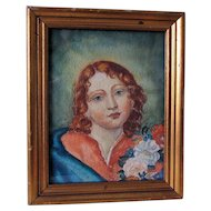 Original Vintage Watercolor Painting of a Red Headed Young Lady