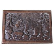 Vintage German Black Forest Jewelry Box with Carved Bear, Silk Interior