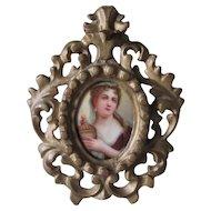 Antique Miniature Porcelain Plaque of Adrienne Lecouvreur, French Actress