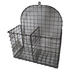 Primitive Wireware Letter Holder, Mail Basket, Country Storage Box