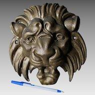 Antique Cast Iron Lion Head Architectural Ornament, Garden Decor
