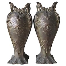 Pair Antique Art Nouveau Vases Garnitures, Ladies Faces, Butterflies & Ginko Leaves