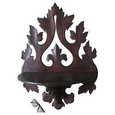 Antique c1880 Folk Art  Hand Carved Walnut Shelf with Leaf Motif