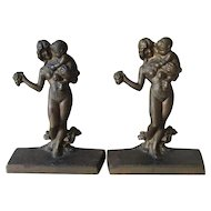 Rare Pair Antique Art Deco Nude Lady with Satyr Child Cast Iron Bookends