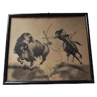 Original c1916 Illustration of a Native American Indian & Buffalo, Signed Hohenstein