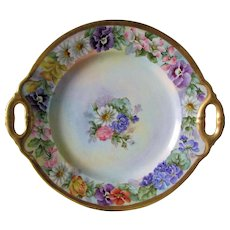 Lovely c1910s Hand Painted Porcelain Cake Plate,  Edwardian