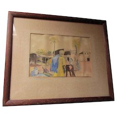 1920s Impressionistic Watercolor Painting, Illustration  Biskra, Algeria Signed