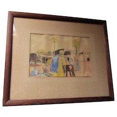 1920s Impressionistic Watercolor Painting, Illustration  Biskra, Algeria Signed