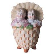 c1880s Antique German Bisque Match Safe, 2 Children in Wicker Basket