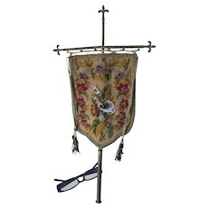 Lovely c1870s Beaded & Needlepoint Fire Screen with Calla Lily Flowers