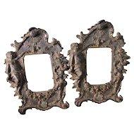 Pair Antique Picture Frames with Ladies & Cherub Angels, Mirror Frames