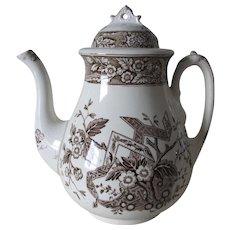 Antique c1880 Wedgwood Beatrice Brown Transferware Teapot, Staffordshire