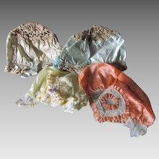4 c1920s Art Deco Flapper Silk, Satin & Lace Bonnets Night Caps