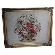Antique 19thC Folk Art Needlepoint Sampler Bird & Flower Basket, Punched Paper
