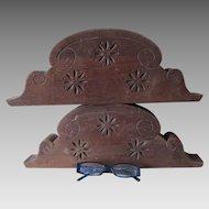 Pair Antique Hand Carved Wood Architectural Elements, Pediments