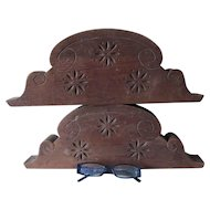 Pair Antique Hand Carved Wood Architectural Elements, Pediments