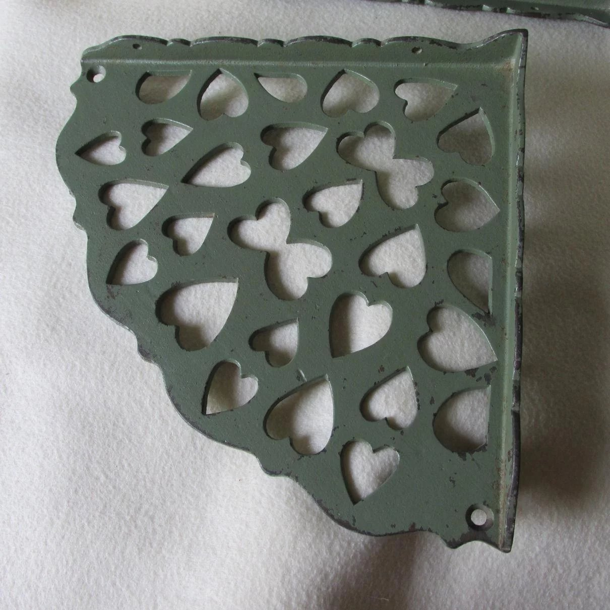 Pair Vintage Cast Iron Corner Shelves With Heart Motif Green Paint Click To Expand