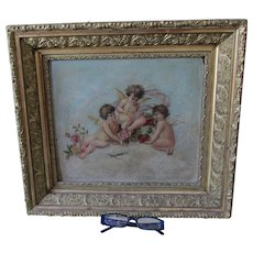 Antique Victorian Oil Painting of Cherub Angels, Gilded Picture Frame