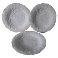 3 Antique c1870s Parian Porcelain Plates with Grape Vine Motif