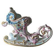 Lovely Hand Painted French Rococo Sled Centerpiece, Vase