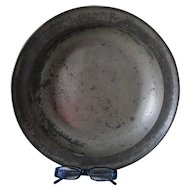 Antique Primitive English Pewter Charger, Bowl with Hallmarks