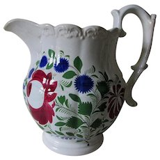 Antique Mid 1800s Adams Rose Soft Paste Water Pitcher, Hand Painted