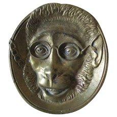 Antique Bronze Tray with Monkey Wearing Eyeglasses