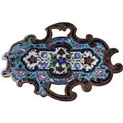 Antique French Champleve Enamel Tray, Vanity or Desk Accessory