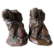 Antique Lion & the Mouse, Aesop's Fable Bookends,  Jennings Brothers