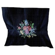 Vintage Hand Made Petit Point Panel with Floral Motif, Upholstery, Tapestry