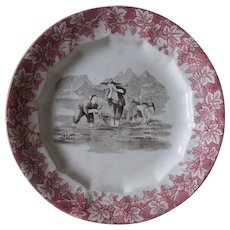 Rare Antique Red & Brown Staffordshire Transferware Plate, Asian Motif Rice Paddy