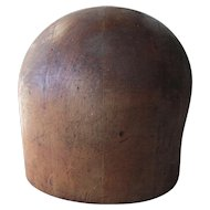 Vintage Wood Hat Block, Millinery Mold with Great Patina