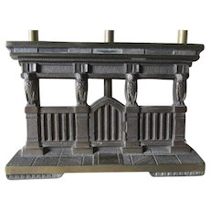 Antique Expanding Bookends with Owls & Architectural Columns