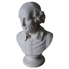 Antique English Parian Porcelain Bust of William Shakespeare