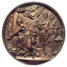 Antique Plaque, Scene from William Shakespeare's Macbeth, Cast Iron