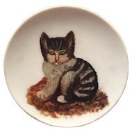 Antique c1880s Folk Art Oil Painting of a Kitten, Cat