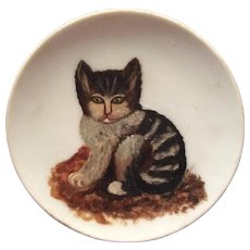 Antique c1880s Folk Art Oil Painting of a Kitten, Cat