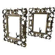 Matched Pair of Antique Mirror or Picture Frames, Cast Brass