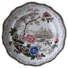 Rare c1840s 4 Color Romantic Staffordshire Transferware Plate