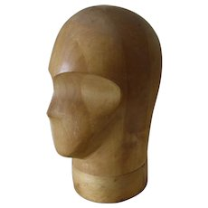 Vintage Wood Hat Display Milliners Hat Block with Face