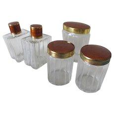 Set of 5 Art Deco Vanity Jars, Perfume Bottles with Guilloche Enamel Lids
