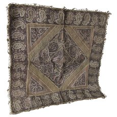 Fine Middle Eastern Embroidered  Tapestry in Gold & Silver Metallic Lace