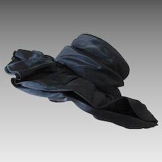 Pretty c1940s Black Satin Hat with Ruffled Brim