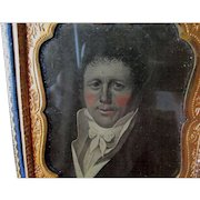 Antique Ambrotype Photograph of a Miniature Painting, Handsome Gentleman