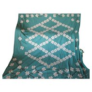 Pretty c1930s Art Deco Applique Quilt Top with Daisy Flowers